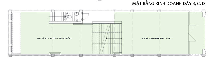Layout of commercial area in Row B-C-D