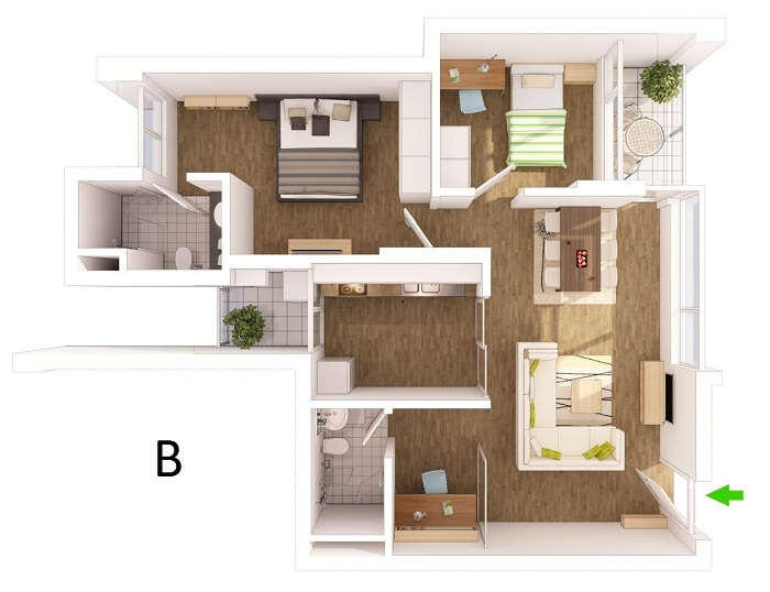 perspective drawing apartments type b ecopark van giang