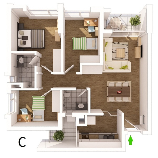 perspective drawing apartments type c ecopark van giang